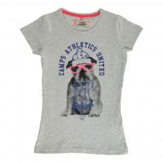 T-Shirt Chien Lunettes Gris chiné