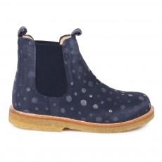 Boots Chelsea Pois Bleu marine