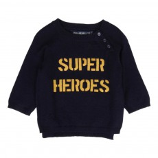 """Pull """"Super Heroes"""" Zazou Bleu marine"""