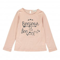 """T-Shirt """"Bonjour & Bon Vent"""" Rose pâle"""