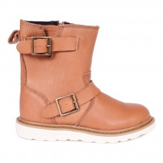 Boots Cuir  Zippées New Biker Camel