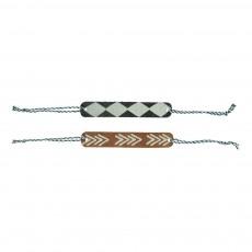 Pack de Deux Bracelets Cuir Multicolore