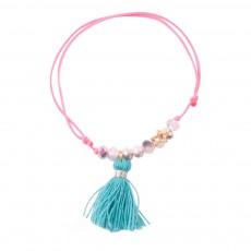 Bracelet Pompon Karma Blue Bleu canard