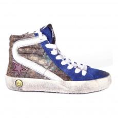 Baskets Zippées Paillettes Leopard Slide Bleu