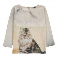 T-Shirt Gaufré Chat Minus Gris