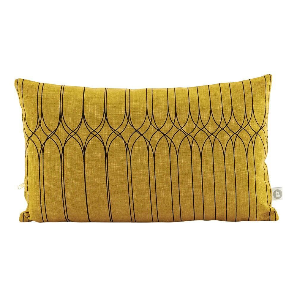 coussin motifs graphiques 30x50 cm jaune moutarde house doctor d coration smallable. Black Bedroom Furniture Sets. Home Design Ideas