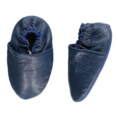 Chaussons Cuir Chic Bleu nuit