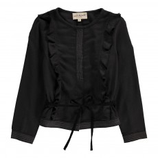 Blouse Volants Sally Gris anthracite