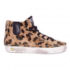 Baskets Lacets Faux Zip Leopard Jhoe Beige