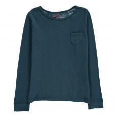 T-Shirt Manches Longues Poche Bleu pétrole