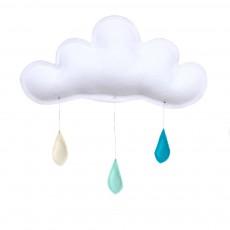 Mobile Gouttes de pluie crème - menthe - turquoise