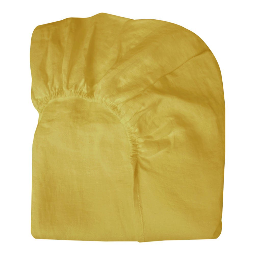 Drap housse lin jaune moutarde lab d coration smallable - Drap housse jaune ...
