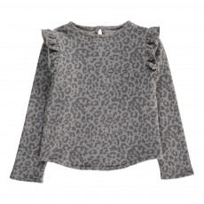 Sweat Leopard Volants Epaules Gris