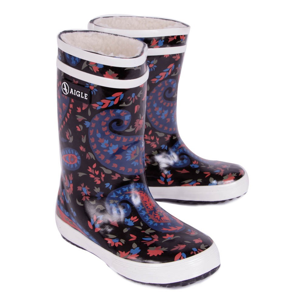 bottes de pluie fourr es paisley lolly pop bleu marine aigle chaussures enfant smallable. Black Bedroom Furniture Sets. Home Design Ideas