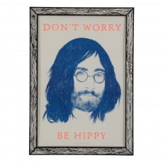 Affiche Don't worry be hippy 29,7x42 cm Bleu