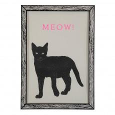 Affiche Meow 29,7x42 cm Noir