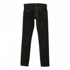 Pantalon Slim Velours Vert foncé