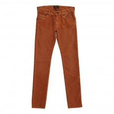 Pantalon Slim Velours Ocre