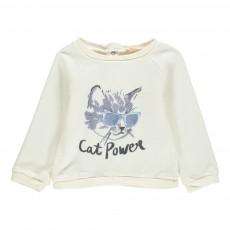 Sweat Cat Power Bébé Ecru
