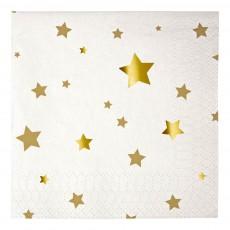Serviettes en papier étoiles - Lot de 20 Doré