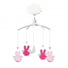 Mobile musical Ange lapin Fuschia et rose Rose