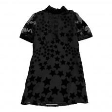 Robe Dévorée Etoiles Velours Noir