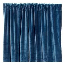 Rideau occultant en velours de coton Bleu pétrole