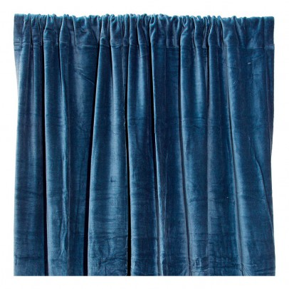 rideau occultant en velours de coton bleu p trole liv interior d coration smallable. Black Bedroom Furniture Sets. Home Design Ideas