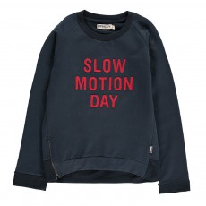 Sweat Coton Bio Slow Motion Zip Bleu marine