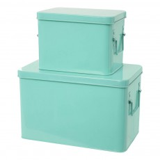 Boîtes de rangement métal - Set de 2 Vert