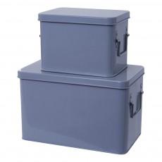 Boîtes de rangement métal - Set de 2 Bleu gris