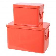Boîtes de rangement métal - Set de 2 Corail