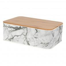 Boîte de rangement rectangulaire effet marbre Blanc