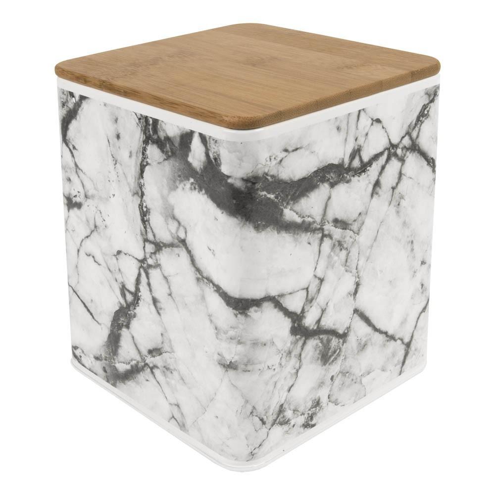 bo te de rangement carr effet marbre blanc present time. Black Bedroom Furniture Sets. Home Design Ideas