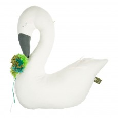 Oiseau décoratif Swan avec pompom Ecru