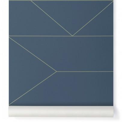 papier peint lines bleu nuit ferm living d coration. Black Bedroom Furniture Sets. Home Design Ideas