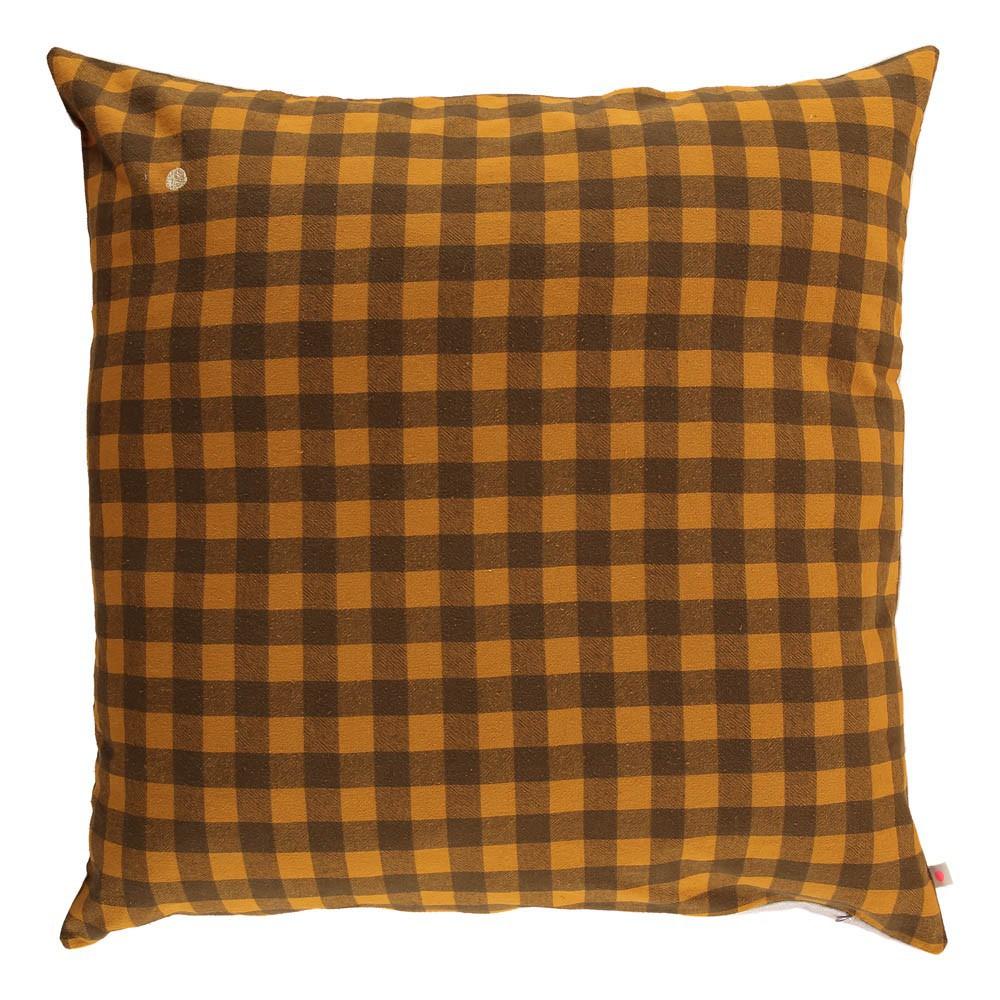 coussin g ant de sol d houssable vichy 80x80 cm jaune moutarde la cerise sur le g teau. Black Bedroom Furniture Sets. Home Design Ideas