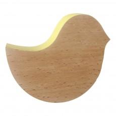 Patère oiseau en bois - Jaune