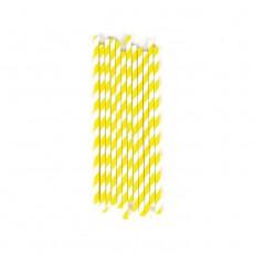 Pailles chevrons jaunes - Lot de 25 Jaune