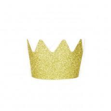 Couronne en carton pailletée glitter doré - Lot de 8 Doré
