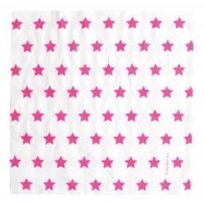 Serviettes en papier étoiles fuchsia - Lot de 20 Rose fuschia