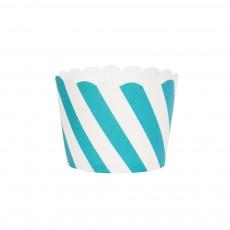 Caissettes à dessert diagonales bleues - Lot de 25 Bleu