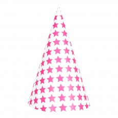 Chapeaux pointus étoiles fuchsia - Lot de 8 Rose fuschia