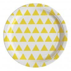 Assiettes en carton triangles jaunes - Lot de 8 Jaune