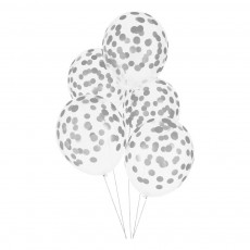 Ballons confettis imprimés argentés - Lot de 5 Argenté