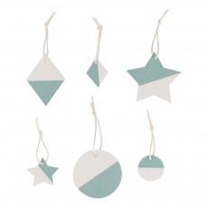 Décoration de Noël Bleu turquoise - Lot de 6