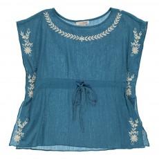 Blouse Brodée à Fleurs Veracruz Bleu jean