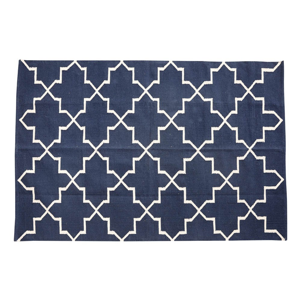 tapis motifs g om triques 120x180 cm bleu h bsch. Black Bedroom Furniture Sets. Home Design Ideas