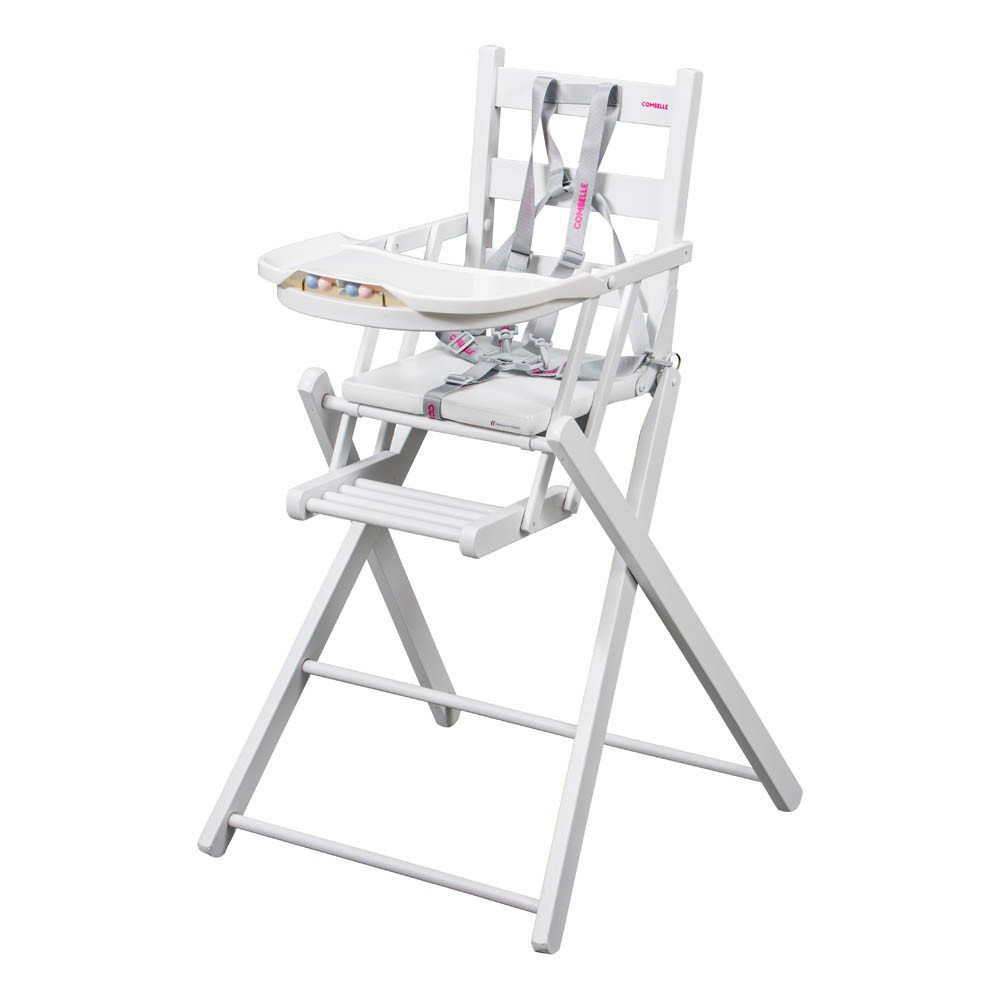 Chaise haute extra pliante blanc combelle univers b b for Chaise haute combelle pliante