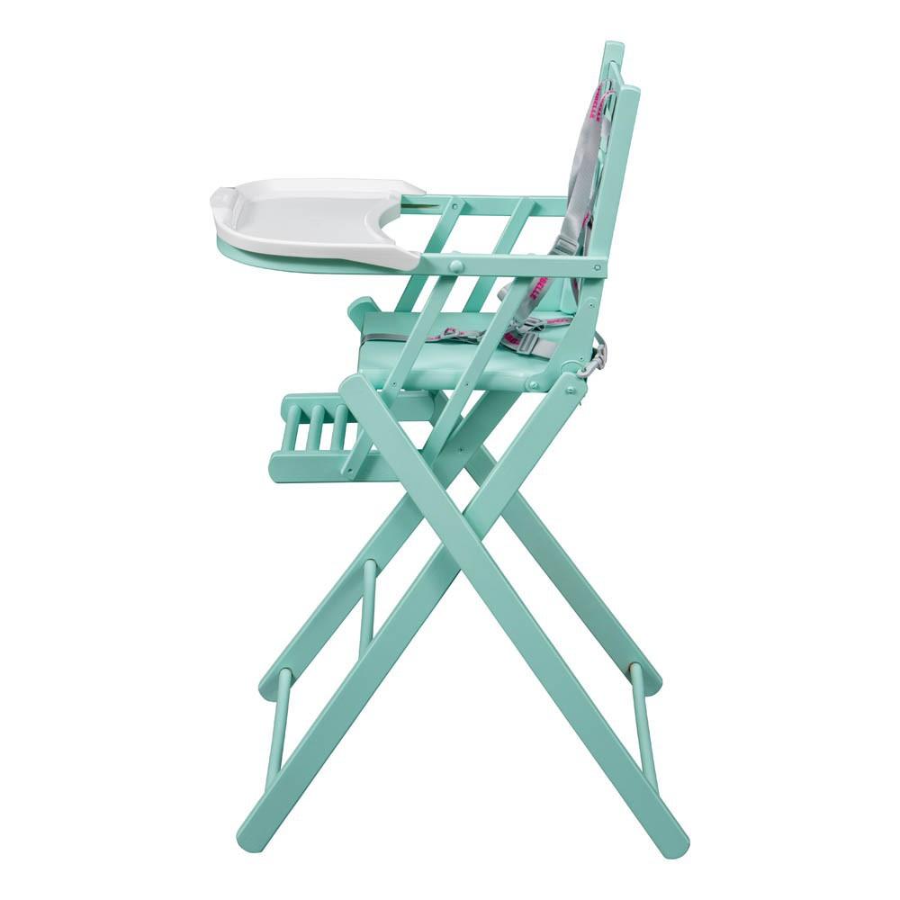 Chaise haute extra pliante laqu vert amande combelle for Chaise haute combelle pliante